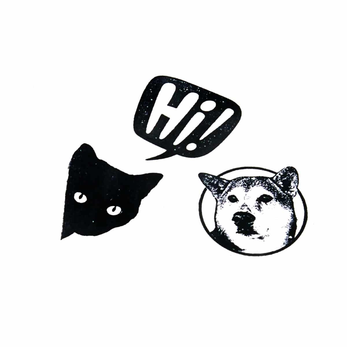Dog cat rubber stamps