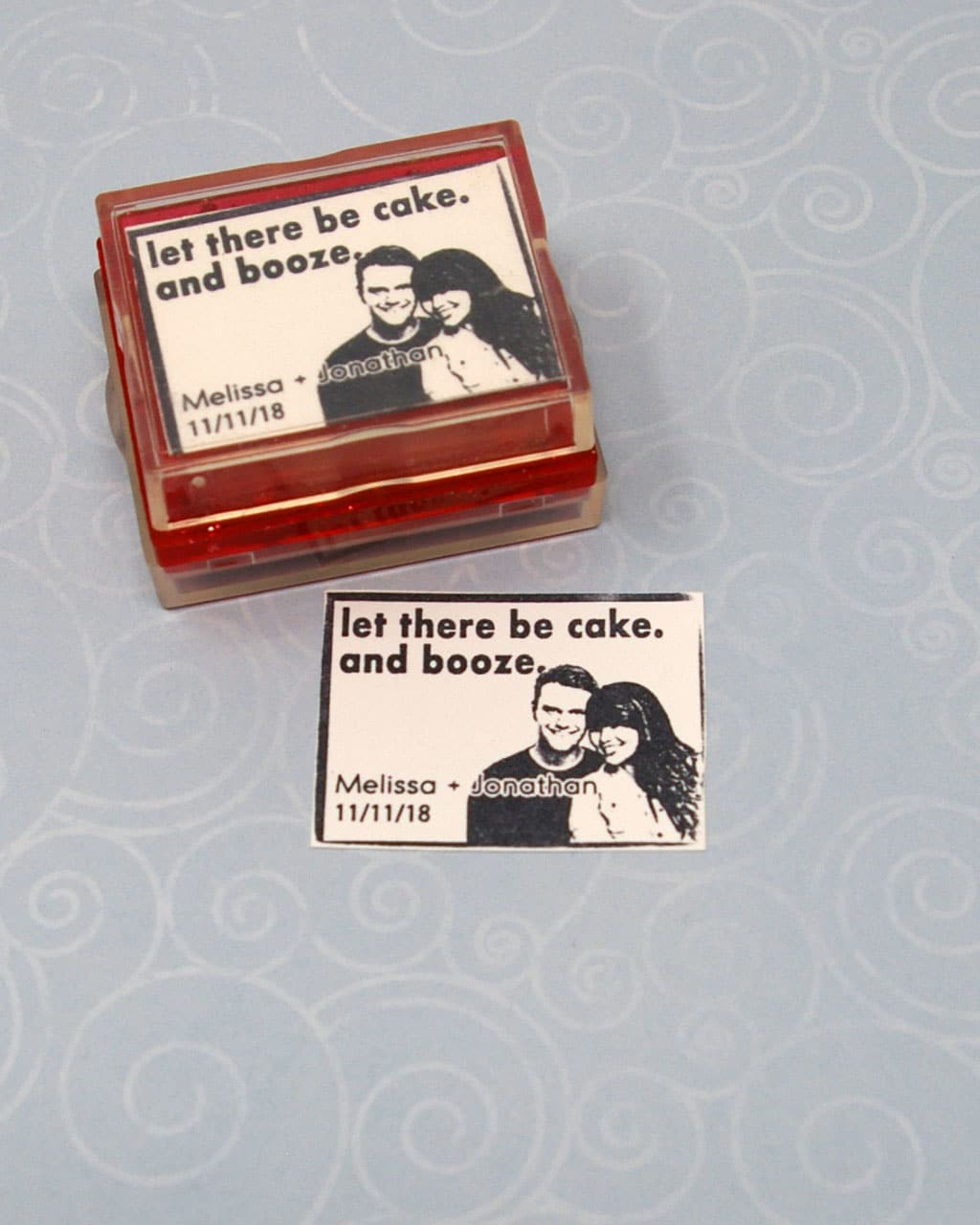 cake and booze wedding rubber stamp