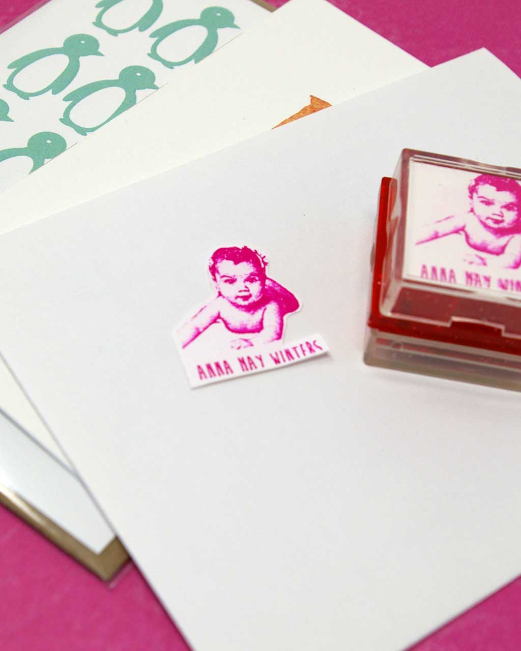 birth announcement rubber stamp