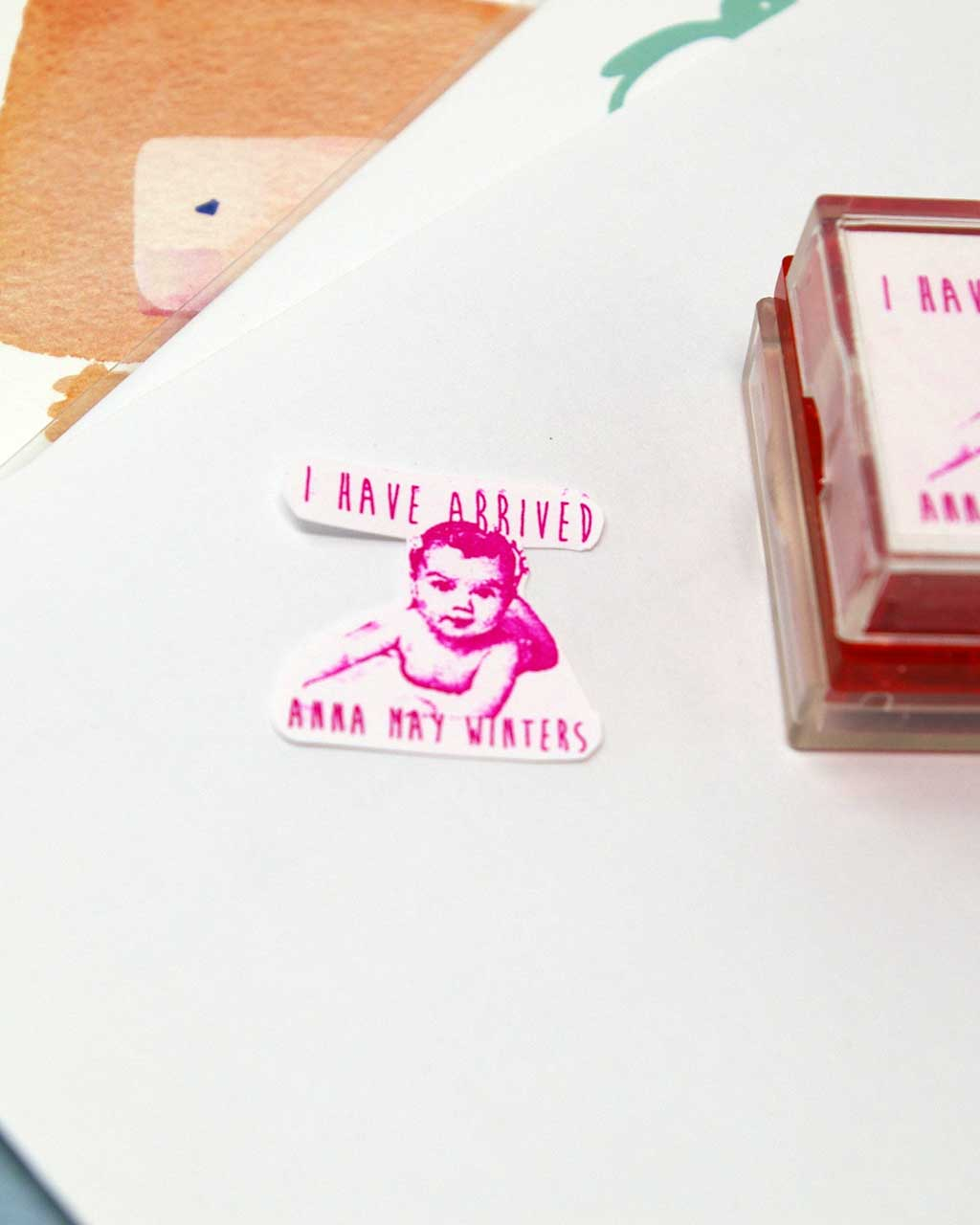 photo birth announcement rubber stamp