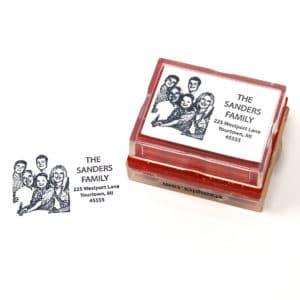 Family Return Address Rubber Stamp