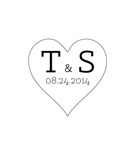 heart wedding invite rubber stamp