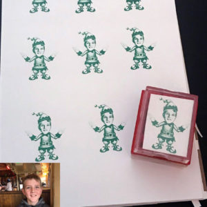 Elf Christmas Rubber Stamp