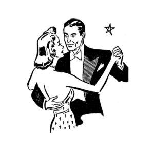 Vintage Dance Rubber Stamp
