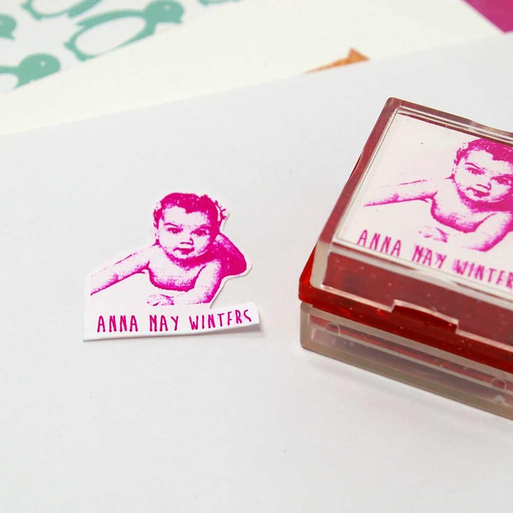 personalized rubber stamp birth announcement
