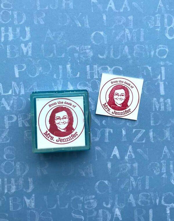 teacher photo rubber stamp