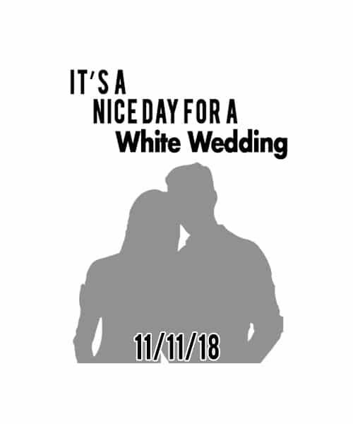 White Wedding Rubber Stamp