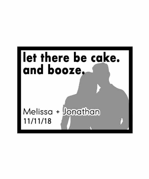 Let there be cake and booze wedding stamp