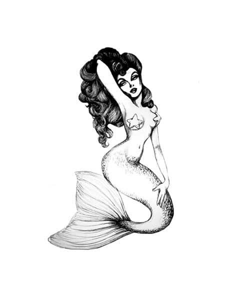 Vintage Mermaid Rubber Stamp