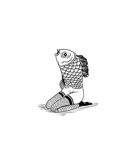 Fish Lady Rubber Stamp