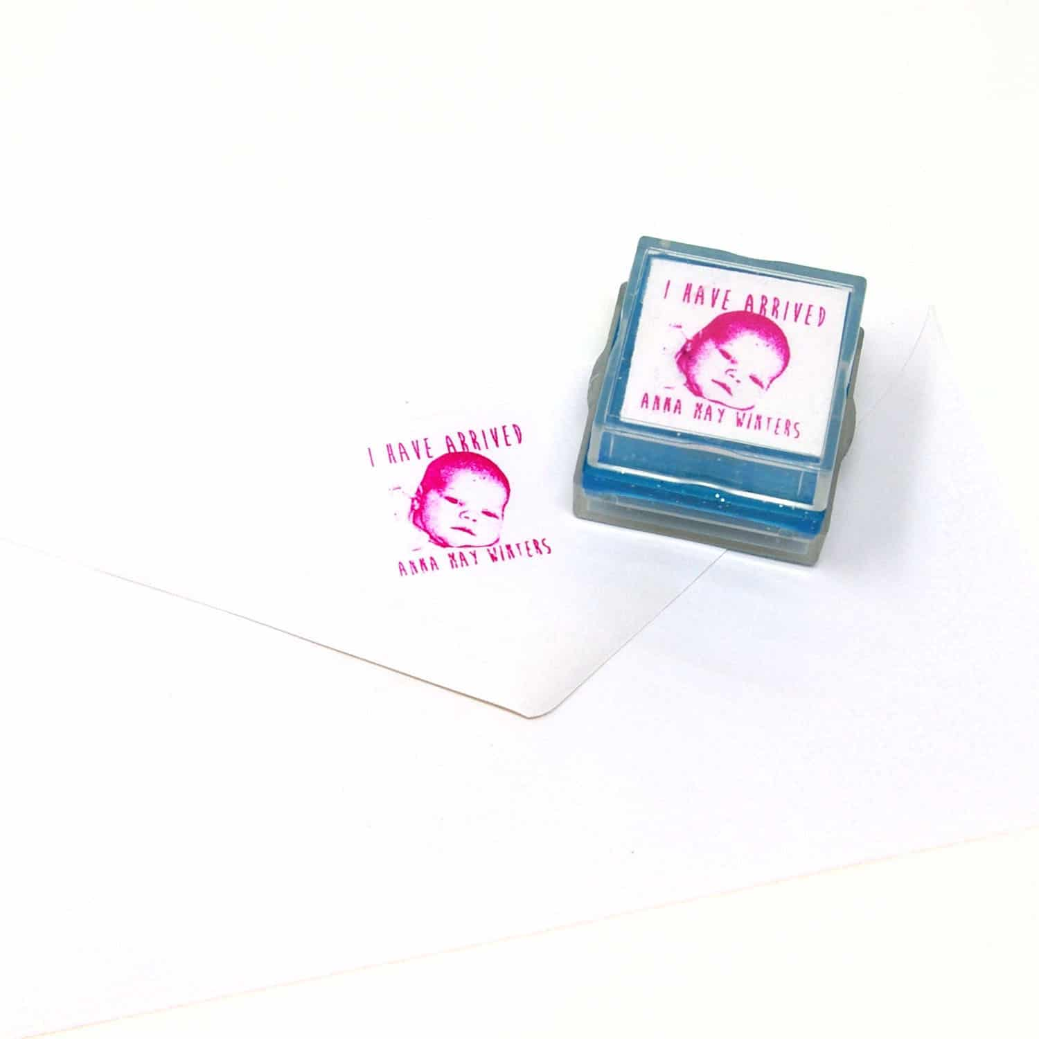 birth announcement rubber stamp