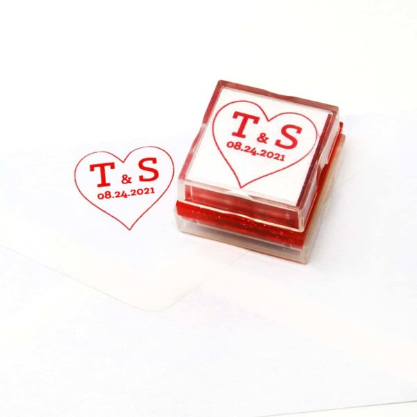 Wedding Initials Rubber Stamp